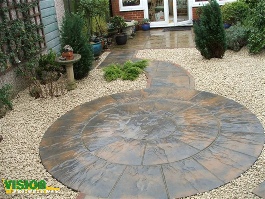 Patios and garden paving vision landscaping and paving for Garden patio designs